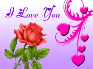 I love you image for her with flower